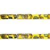 Glass Peacock Tiny Flat Beads 5X3.5mm Transparent Yellow